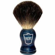 100% Black Badger Bristle Shaving Brush with Blue Handle & Free Stand