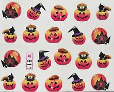 "Halloween Glitter Nail Art Sticker Gold/Black ""Pumpkin & Cats"" Water Decal 811"