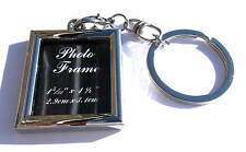Keyring Photo Frame Shape Photograph Chrome Metal Keychain Gift Boxed