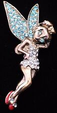 BRONZE TONE TEAL CLEAR RHINESTONE DISNEY TINKER BELL TINK PIN BROOCH JEWELRY