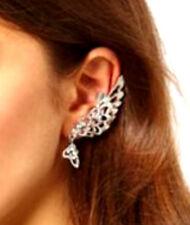 Silver Tone Left Ear Angel Wing Clip-On Cuff Earring W/ Rhinestones/ US Seller!