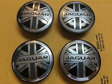 NEW JAGUAR BLACK ENGLAND FLAG WHEEL HUB CAP SET OF 4 COVER LOGO C2D9611 /C2Z4438
