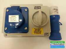 INDUSTRIAL SWITCHED INTERLOCK SOCKET & MALE PLUG 240V BLUE 2 P&E 16a SI16324