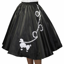 "Black SATIN Poodle Skirt _ Adult Size Plus XL-3XL _ Waist 40""- 48"" _ Length 25"""