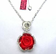 Betsey Johnson Shiny crystal beautiful Red silk Roses Pendant Necklace#230L