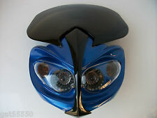 NEW ALIEN BLUE UNIVERSAL MOTORCYCLE HEADLIGHT STREETFIGHTER CUSTOM ZXR GSX GSF