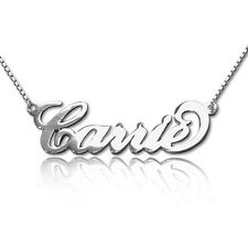 Personalized Carrie Style Name Necklace in Sterling Silver 0.925 (USA Seller)