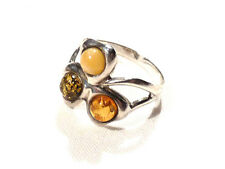 Bijou argent 925 bague trois ambre naturelle taille 56 ring