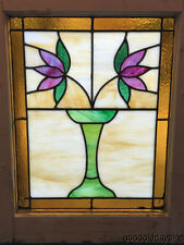 """Nice Classic Bungalow Stained Leaded Glass Window Vase w/ Two Flowers 25"""" x 20"""