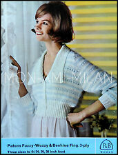 VINTAGE Knitting Pattern Copy 1960's LADIES FUZZY-WUZZY BEDJACKET CARDIGAN 3 PLY