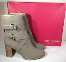 KATE SPADE Lexy Womens Size 8.5 Stone Nubuck Leather Mid Calf Heels Boots ZD-950