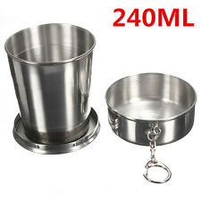240ML Portable Folding Telescopic Collapsible Outdoor Travel Cup Keychain Hiking
