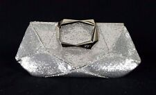 ROGER VIVIER Metallic Silver Sequin Embellished Satin PRISME Clutch Bag