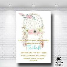 Bohemian Personalised  Baby Shower Invitation PRINTED & MAGNETS