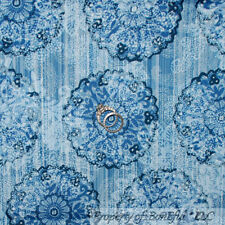 BonEful Fabric FQ Cotton Quilt Blue White L Flower Stripe Paisley Calico Cowgirl