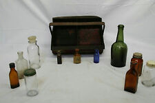 VINTAGE GLASS JARS AND BOTTLES WITH TRAY LOT - BLUE GREEN MEDICAL APOTHECARY