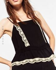 Zara Black Camisole Top With Lace Detail Frill Size XS BNWT Ref 0881/309 RRP£22
