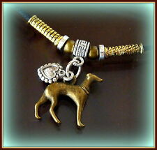 GREYHOUND Dog Pup Necklace Pendant Jewelry - Retro ANTIQUE Art Deco Style