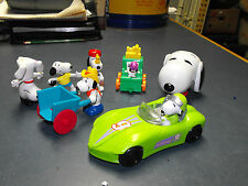 LOT COLLECTION OF 7 SNOOPY & WOODSTOCK TOYS CAR CANDY DISPENSOR RUBBER FIGURINE