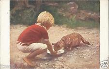 Kind füttert die Katze, Jobst - Milchgeschwister, alte Ansichtskarte