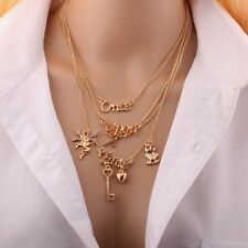 Gold Plated Once Upon A Time~Angel Key Owl~Four Layer Pendant Necklace Chain