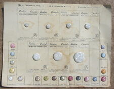 Vtg Antique 25 Sample Button Card Lucite Mother of Pearl Products Rainbow Old