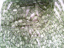 Vtg 500 WATER COLOR GREEN LINED CLEAR GLASS PILLOW BEADS 5X3.5MM  #032312a