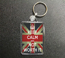 KEEP CALM STAY HE'S NOT WORTH IT KEYRING UNION JACK BAG TAG FOB GIFT
