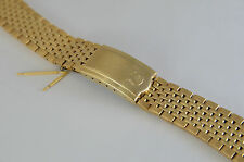 STUNNING FOR OMEGA GOLD PLATED GENTS WATCH STRAP CURVED ENDS RICE BEAD 18mm.
