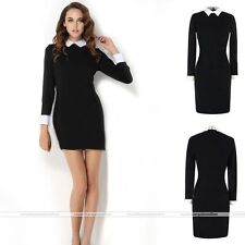 Womens Elegant School Spring Autumn Black Peter Pan Collar Slim Dress Black S