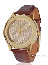 NEW WOMENS MICHAEL KORS (MK2455) KINLEY BROWN LEATHER GLITZ GOLD TONE WATCH SALE