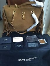 Saint Laurent YSL Monogram Fringe Brown Suede Chain Strap Shopping Tote NWT$2750