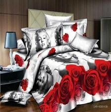 Double Size 3D Print Marilyn Monroe Rose Bed  Duvet Cover Pillowcase  LIMITED