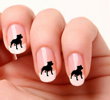 20 Nail Art Stickers Black Vinyl Dog Staffie - peel & stick