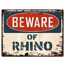 PP1487 Beware of RHINO Plate Rustic Chic Sign Home Room Store Decor Gift
