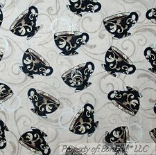 BonEful Fabric FQ Cotton Quilt Tan Brown Black COFFEE Bean Swirl Cup English TEA