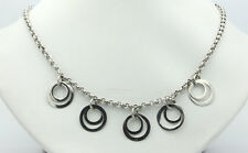 """Sterling Silver .925 Cable 18"""" Necklace 5 Double Circle Charms 13.4g #10323"""