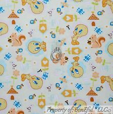 BonEful Fabric Cotton Quilt VTG Yellow Looney Tunes Tweety Bird House SALE SCRAP