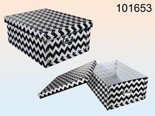 Caja De Almacenamiento Plegable de Plástico Negro/Blanco Zig Zag Patrón de 35cm X 27cm X 15cm (WH)