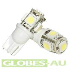 5x 12V LED T10 COOL WHITE LIGHT Cabinet Camper Bulb Globe Garden Wedge 5-SMD Car