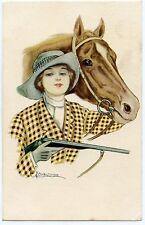 ILLUSTRATEUR SIGNé. JOLIE CAVALIèRE. éQUITATION. CHASSE. CHEVAL. HUNTING. HORSE