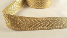 "1""- 1 meter Beautiful gold woven ribbon lace trim for designing crafting edging"