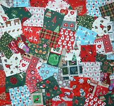 PACK OF 50 X 4 INCH CHRISTMAS PATCHWORK QUILTING COTTON FABRIC SQUARES CHARM SET