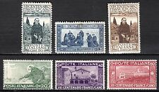 Italy - 1926 St. Francis of Asissi - Mi. 234-39 MH (#238 thin spot)