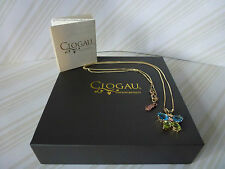 "Clogau 9ct Yellow & Rose Gold Blue Topaz Butterfly Pendant, 18"" Chain RRP £540"
