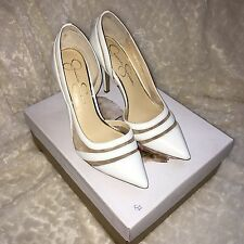 New jessica simpson Curtsy Pumps  shoes White High Heels Size 6.5 Women's
