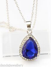Swarovski Crystal Elements Teardrop Necklace Sapphire Blue White Gold Plated