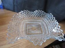 Diamond Cut Clear Glass Candy Dish Ruffled Edges