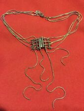 ❤️ Multi-Row Snake Chains Choker Necklace Prong Set Crystals Silver Plated EUC