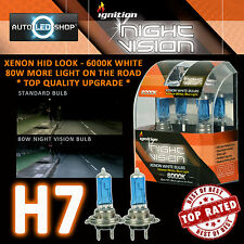 IGNITION H7 80W NIGHT VISION SUPER WHITE XENON HID HEADLIGHT BULBS 6000K UPGRADE